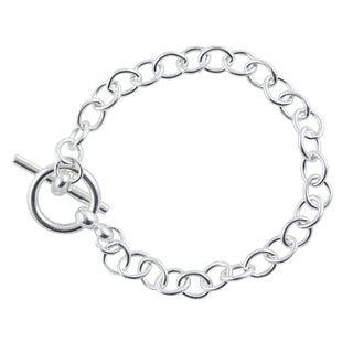 Sterling Silver Round Link 7.5-inch Toggle Bracelet