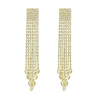 Dangle Rhinestone Clip On Fancy Fringe Earrings