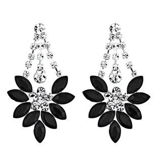 Clear and Black Rhinestone Dangle Earrings