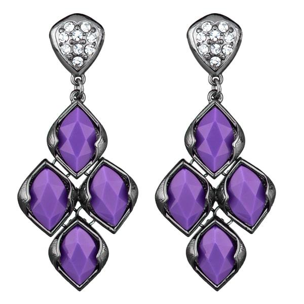 Purple Gunmetal Chandelier Earrings