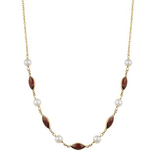 Fremada 14k Yellow Gold Garnet and White Freshwater Pearl Station Necklace (17 inches)