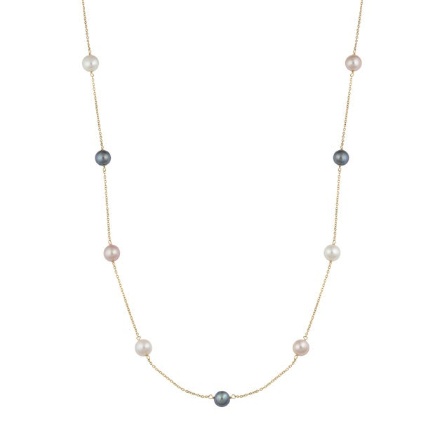 Fremada 14k Yellow Gold White/Black/Pink Freshwater Pearl Tin-cup Station Necklace (30 inches)