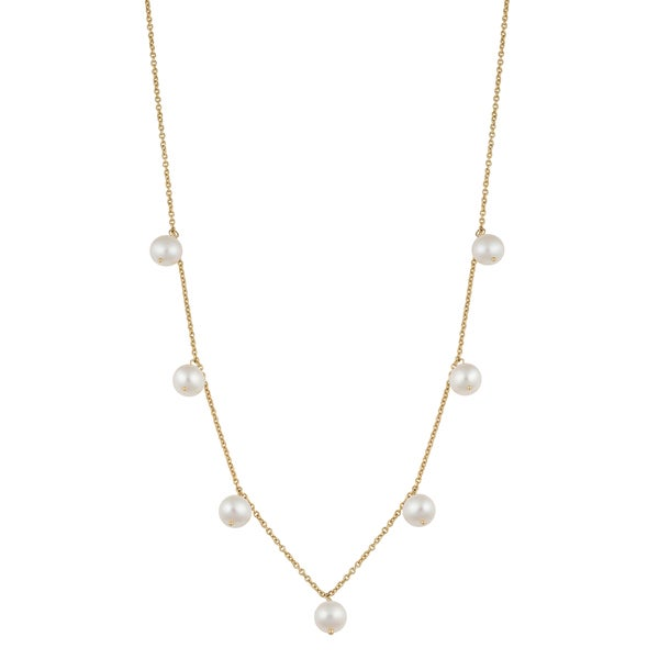 Fremada 14k Yellow Gold White Freshwater Pearl Tin-cup Cleo Necklace (16 inches) 16370337