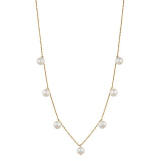 Fremada 14k Yellow Gold White Freshwater Pearl Tin-cup Cleo Necklace (16 inches)