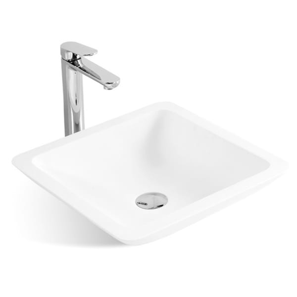 16-3/4-Inch Stone Resin Solid Surface Square Slope Shape Bathroom Vessel Sink