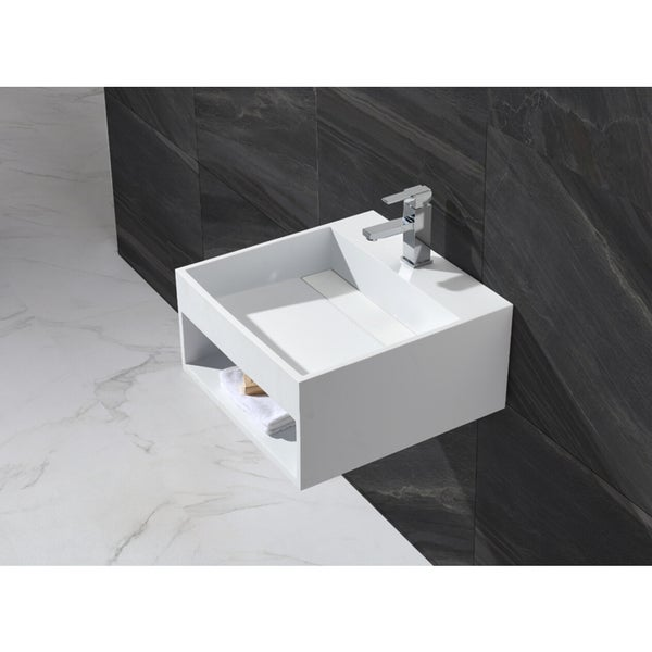 20-Inch Stone Resin Solid Surface Square Shape Bathroom Wall Mount Sink