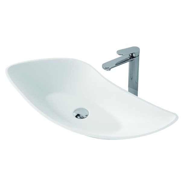 23-1/2-Inch Stone Resin Solid Surface U Shape Bathroom Vessel Sink (As Is Item)