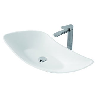 23-1/2-Inch Stone Resin Solid Surface U Shape Bathroom Vessel Sink