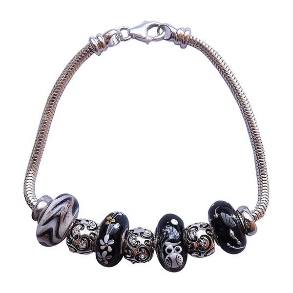 Sterling Silver Handpainted Owl Bead Bracelet
