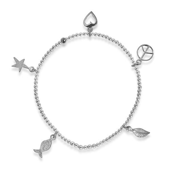 Love Peace Nature Charms Sterling Silver Elastic Bracelet (Thailand)