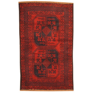 Herat Oriental Afghan Hand-knotted Tribal Balouchi Red/ Navy Wool Rug (2'10 x 4'8)