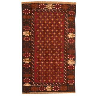 Herat Oriental Afghan Hand-knotted Tribal Balouchi Burgundy/ Navy Wool Rug (2'8 x 4'6)