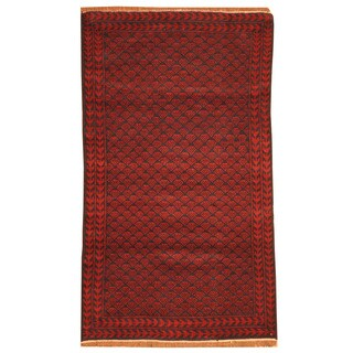 Herat Oriental Afghan Hand-knotted Tribal Balouchi Red/ Navy Wool Rug (2'11 x 4'10)