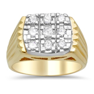 14k Two-tone Gold Men's 4/5ct TDW Diamond Band (F-G, SI1-SI2)