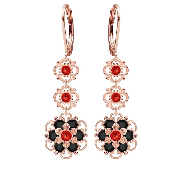 Lucia Costin Sterling Silver Red/ Black Crystal Earrings 16370747