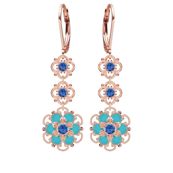 Lucia Costin Sterling Silver Blue/ Turquoise Crystal Earrings 16370750