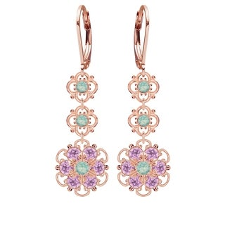 Lucia Costin Sterling Silver Mint Blue/ Lilac Crystal Earrings