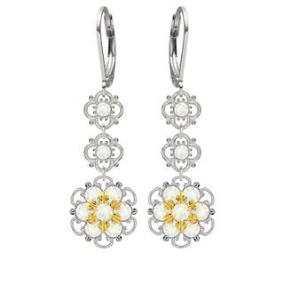 Lucia Costin Silver, White Swarovski Crystal Earrings