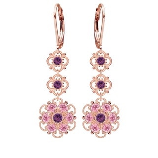 Lucia Costin Silver, Light Pink, Violet Austrian Crystal Earrings