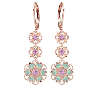 Lucia Costin Sterling Silver Lilac/ Mint Blue Crystal Earrings