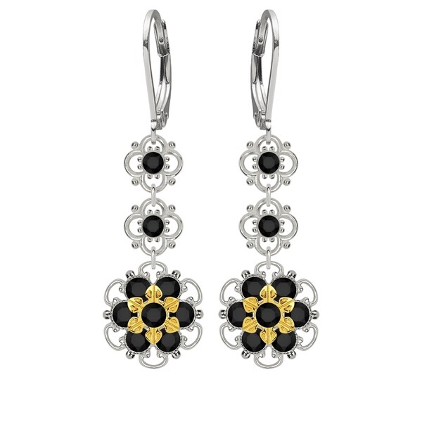 Lucia Costin Silver, Black Swarovski Crystal Earrings