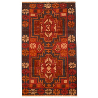 Herat Oriental Afghan Hand-knotted Tribal Balouchi Navy/ Orange Wool Rug (2'9 x 4'6)