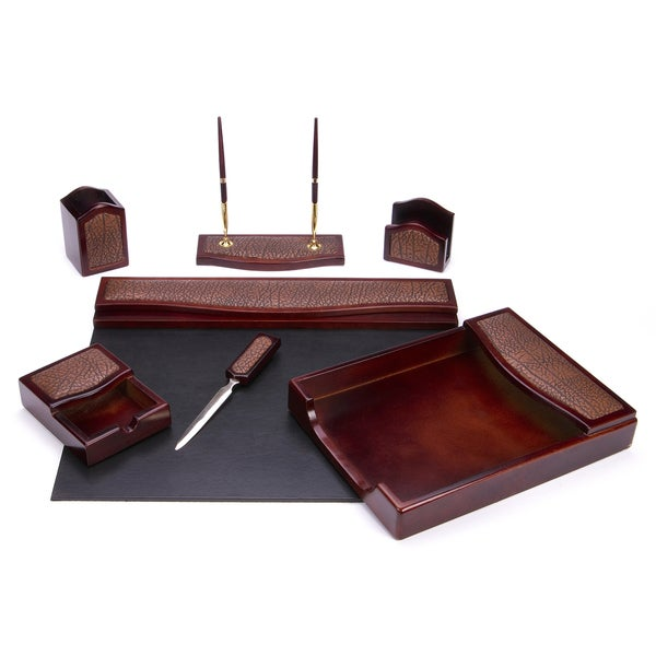 7-piece Burgundy Oak and Brown Eco-Friendly Leather Desk Set