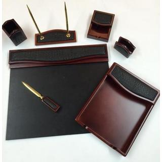 7-piece Burgundy Oak and Black Crocodile Eco-Friendly Leather Desk Set