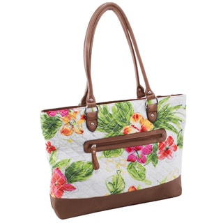 Parinda Allie White Floral Quilted Fabric with Croco Faux Leather Travel Tote Bag