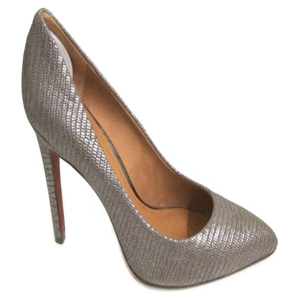 Coach Women's Fawna Emboss Foil Snake Pewter Heels (Size 9.5)