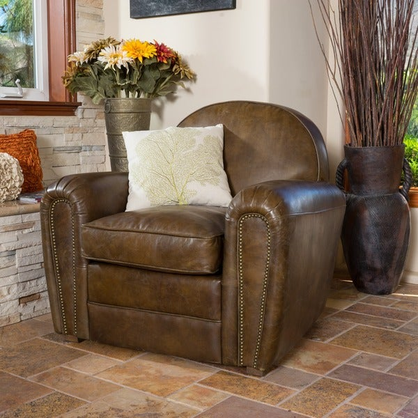 Christopher Knight Home Bourbon Top Grain Leather Arm Chair