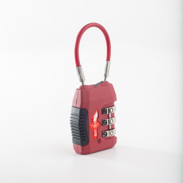 Safe Skies Red 3-Dial TSA Cable Lock