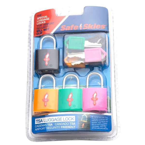 Safe Skies 3 Dial TSA-Approved Combo Lock (Set of 4)