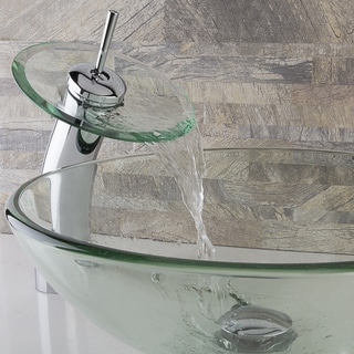 VIGO Crystalline Glass Vessel Sink and Waterfall Faucet Set in Chrome Finish