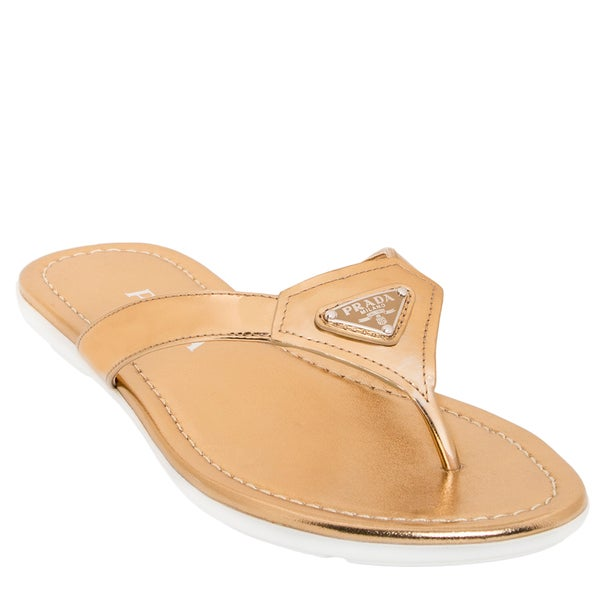 Prada Patent Leather Thong Sandals