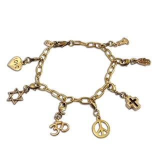 Goldtone Recycled Brass Coexistence Charm Bracelet