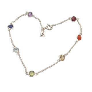 Sterling Silver Multi-gemstone Cable Chain Bracelet