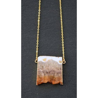 Mint Jules Gold Plated Raw Citrine Amethyst Slice Bar Druzy Geode Pendant Necklace