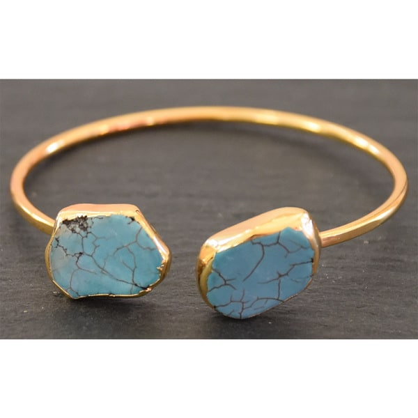 Mint Jules 24k Yellow Goldplated Raw Turquoise Cuff Bangle Adjustable Bracelet