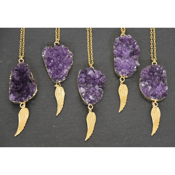 24k Gold Overlay Raw Cluster Amethyst Geode Pendant Necklace