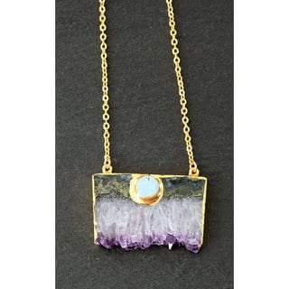 Mint Jules Gold Overlay Mint Jules Raw Amethyst Slice Bar Pendant Necklace