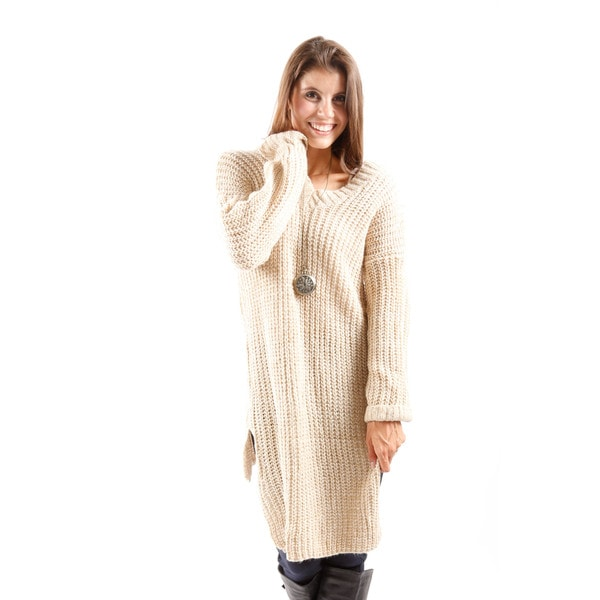 Hadari Women's Long Sleeve Knitted Tunic Sweater