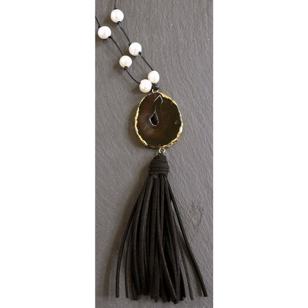 Mint Jules Black Leather White Freshwater Pearl Multi Strand Tassel Necklace