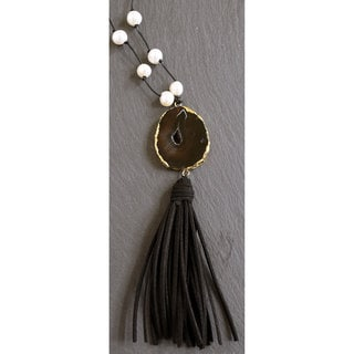 Mint Jules Black Leather White Freshwater Pearl Tassel Necklace