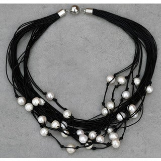 Mint Jules Black Leather and White Freshwater Pearl Multi Strand Necklace 19-inch