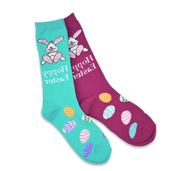 TeeHee Easter Cotton Crew 2-Pk Women's Socks - Happy Easter, Bunny