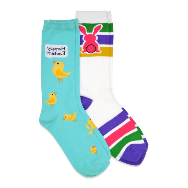 TeeHee Easter Cotton Crew 2-Pk Women's Socks - Easter Eggs, Bunny, Sheep, Chicks