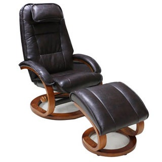 Dark Saddle Swivel Recliner Chair with Ottoman