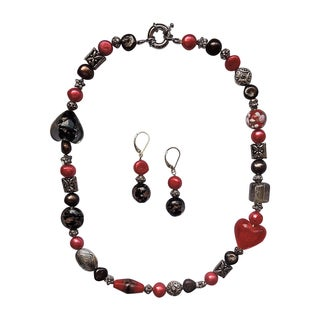 Fancy Red Heart and Brown Pearl Necklace and Earring Set