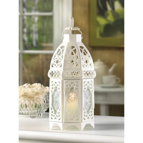 12-inch White Lattice Lantern